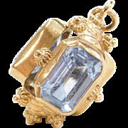 Vintage 18k Gold Natural Blue Spinel Charm