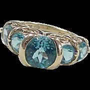 Vintage 10k Gold 4.74 ctw Blue Topaz Ring