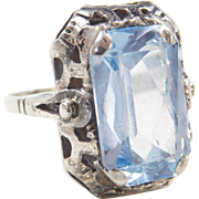 Art Deco 935 Silver 7.45 ctw Blue Topaz Ring