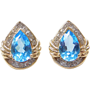Vintage 14k Gold 4.21 ctw Blue Topaz and Diamond Stud Earrings