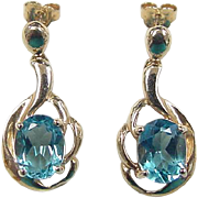 Vintage 10k Gold Blue Topaz Earrings