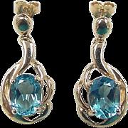 Vintage 10k Gold Blue Topaz Earrings