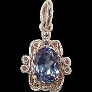 Vintage 14k Gold 1.60 Carat Blue Topaz Pendant