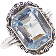 Sterling Silver 4.00 Carat Blue Topaz Ring