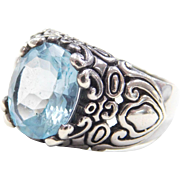 Vintage Ornate Sterling Silver Blue Topaz Ring