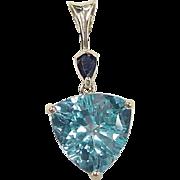 Vintage 14k Gold 6.59 ctw Sapphire and Blue Topaz Pendant