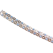 Sterling Silver and Gold Plated Blue Topaz Bracelet ~ 7 1/2