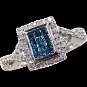 10k White Gold .75 ctw Blue and White Diamond Ring