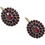 Victorian 900 Silver and 14k Gold 3.02 ctw Bohemian Garnet Earrings