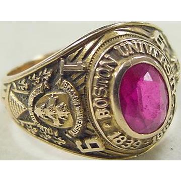 Vintage 14k Gold 1959 Boston University Ruby Class Ring