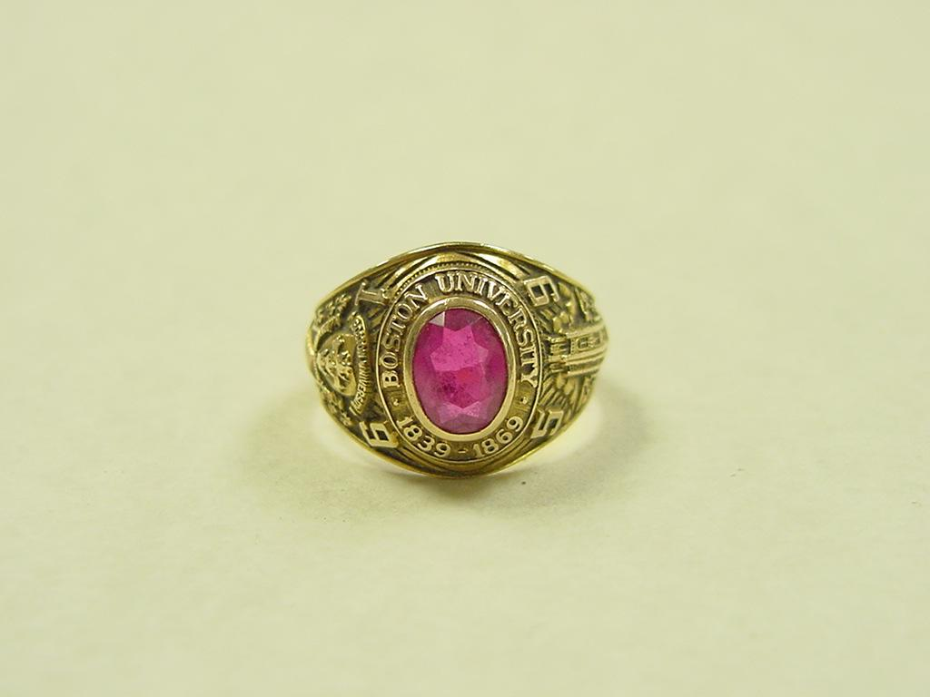 Vintage 14k Gold 1959 Boston University Ruby Class Ring from arnoldjewelers o