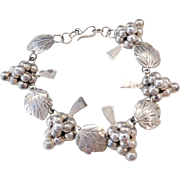 Mexico Sterling Silver Bunches of Grapes and Leaf Bracelet ~ 8""