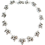 Mexico Sterling Silver Bunches of Grapes Necklace  ~ 17 1/2""