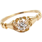 Vintage 14k Gold .16 Carat Diamond Buttercup Ring