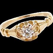 Vintage 14k Gold .16 Carat Diamond Buttercup Ring