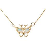 "Vintage 14k Gold Opal and Diamond Butterfly Necklace ~ 21"""