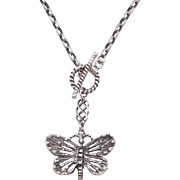 Sterling Silver Butterfly Necklace ~ 15""