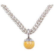 Sterling Silver BIG Butterscotch Amber Necklace