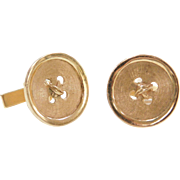 Vintage 14k Gold Gents Button Cuff Links