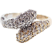 Vintage 14k Gold Two-Tone .48 ctw Diamond Bypass Ring