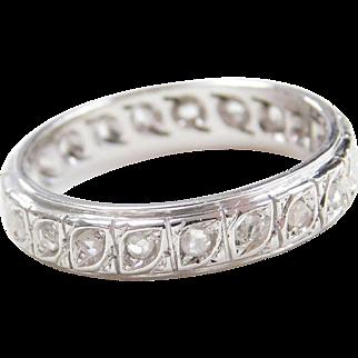 Antique 18k White Gold Handmade .42 ctw Diamond Eternity Band Ring