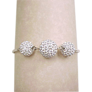 Vintage Sterling Silver Faux Diamond Ball Bracelet