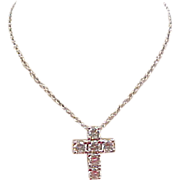 "Vintage Sterling Silver Diamond Faux Cross Necklace ~ 16"" - 17 1/2"""