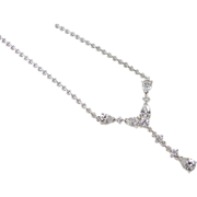 Vintage Sterling Silver Faux Diamond Necklace ~ 17""