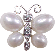 Vintage Sterling Silver Faux Diamond and Pearl Butterfly Pin / Brooch