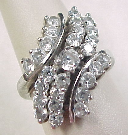 Vintage sterling silver faux diamond waterfall ring from for Waterfall design ring