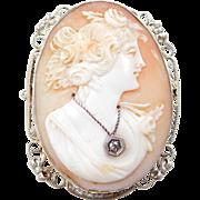 Art Nouveau 14k White Gold Cameo Pendant / Brooch ~ Diamond Accent