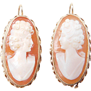 Victorian Revival 14k Gold Cameo Earrings