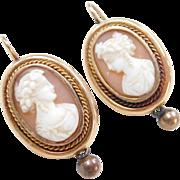 Edwardian 14k Gold Cameo Earrings