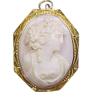 Edwardian 10k Gold Carved Shell Cameo Pendant / Pin