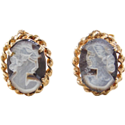 Vintage 14k Gold Carved Cameo Stud Earrings
