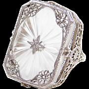 Vintage Sterling Silver Camphor Glass / Rock Crystal Ring