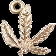Vintage 14k Gold Cannabis Leaf Charm