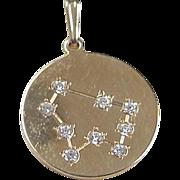 Vintage 14k Gold Faux Diamond Capricorn Constellation Pendant