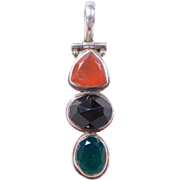 Sterling Silver Carnelian, Onyx and Chrysoprase Pendant