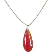 Vintage 14k Gold Carnelian and Diamond Necklace ~ 18""