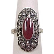 Vintage Sterling Silver Carnelian and Marcasite Ring