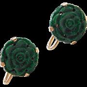 Vintage 14k Gold Carved Jade Earrings ~ Screw Backs