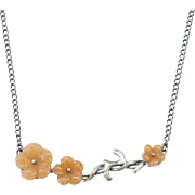 "Sterling Silver Carved Orange Jade Flower Necklace ~  18"" - 20"""