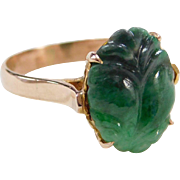 Vintage 14k Gold Carved Jade Ring