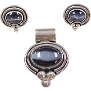 Sterling Silver Gray Cats Eye Pendant and Stud Earrings Set