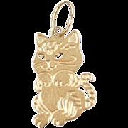 Vintage 14k Gold Cat Charm
