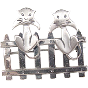 Vintage Sterling Silver Cat On Fence Pin / Brooch ~ BEAU