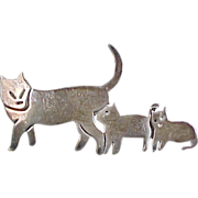 Vintage Sterling Silver Cat and Kittens Brooch / Pin