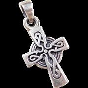 Vintage Sterling Silver Celtic Cross Charm / Pendant