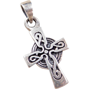 Vintage Sterling Silver Celtic Cross Charm / Pendant